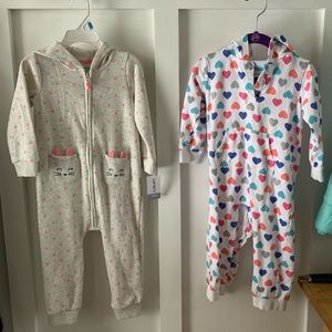 TWO 24 month Carters one piece girl outfits